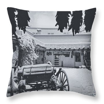 Peppers And Snow Throw Pillow