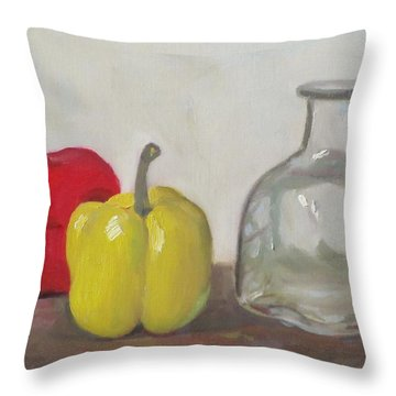 Peppers And Tequila Bottle Throw Pillow