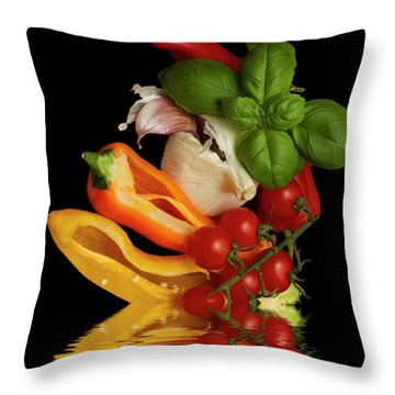 Throw Pillow featuring the photograph Peppers Basil Tomatoes Garlic by David French