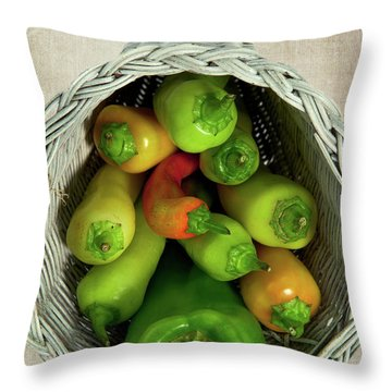 Throw Pillow featuring the photograph Peppers In A Horn Of Plenty Basket by Dan Carmichael