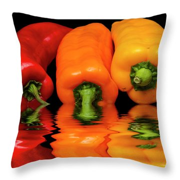 Throw Pillow featuring the photograph Peppers Red Yellow Orange by David French