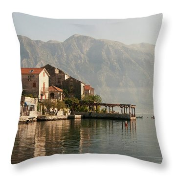 Perast Restaurant Throw Pillow by Phyllis Peterson