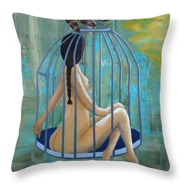 Perceptions Of The Lady In The Birdcage Throw Pillow