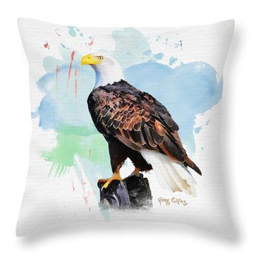 Perched Eagle Throw Pillow by Greg Collins