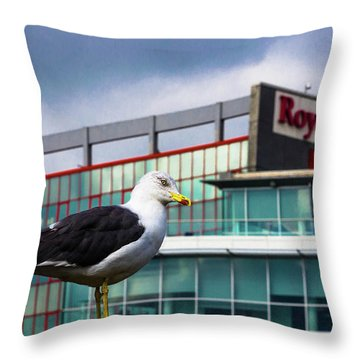Perched Gull Throw Pillow