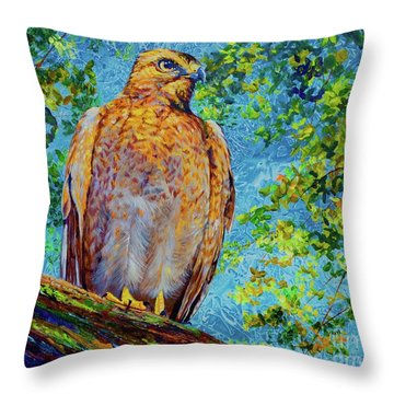 Perched Hawk Throw Pillow