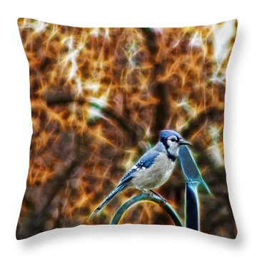Perched Jay Throw Pillow by Cameron Wood