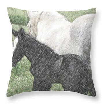 Percheron Colt And Mare In Pasture Digital Art Throw Pillow