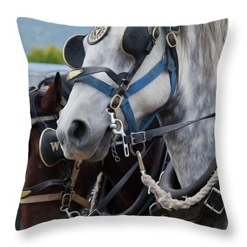 Percheron Horses Throw Pillow by Theresa Tahara