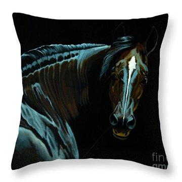 Percheron Mare In The Moonlight Throw Pillow