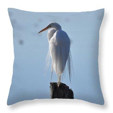 Perching Egret Throw Pillow