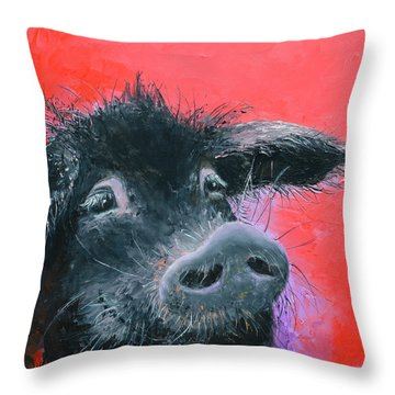 Percival The Black Pig Throw Pillow by Jan Matson