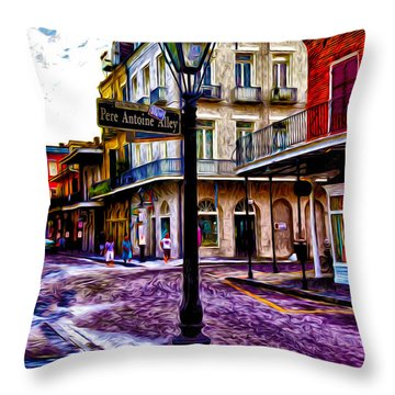 Pere Antoine Alley - New Orleans Throw Pillow by Bill Cannon