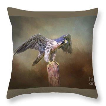 Peregrine Falcon Taking Flight Throw Pillow