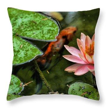 Perfect Beauty And Koi Companion Throw Pillow