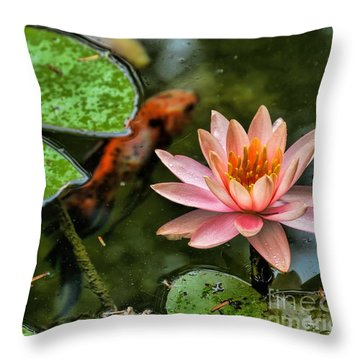 Perfect Beauty And Koi Companion Throw Pillow by Diana Mary Sharpton