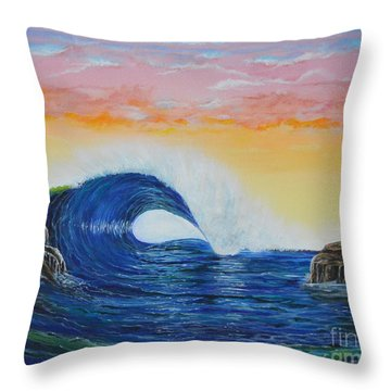 Throw Pillow featuring the painting Perfect Curl by Mary Scott