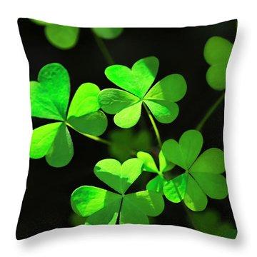Perfect Green Shamrock Clovers Throw Pillow