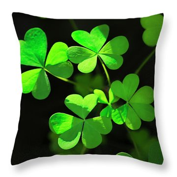 Perfect Green Shamrock Clovers Throw Pillow by Christina Rollo