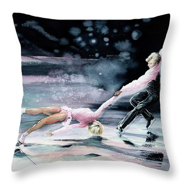 Olympic Figure Skating Paintings Throw Pillows