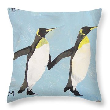Throw Pillow featuring the painting Perfect Penguins by Candace Shrope
