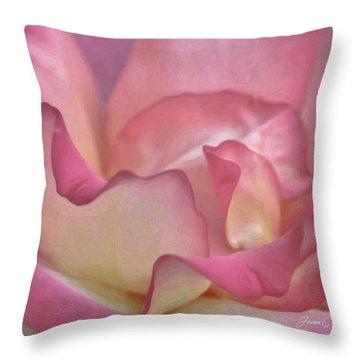 Pink Rose Petals Throw Pillow by Joann Copeland-Paul