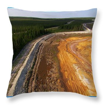 Perfect Poster Of An Ugly Polluted Landscape Of North America Read Canada Throw Pillow by Navin Joshi
