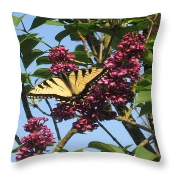 Yellow Swallowtail And Lilac Throw Pillow