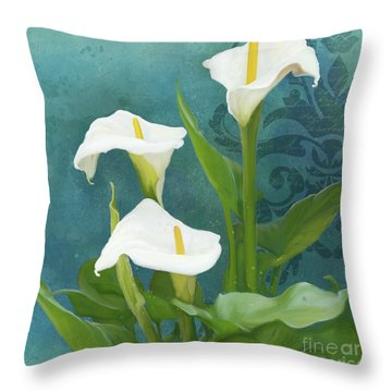 Throw Pillow featuring the painting Perfection - Calla Lily Trio by Audrey Jeanne Roberts