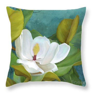 Throw Pillow featuring the painting Perfection - Magnolia Blossom Floral by Audrey Jeanne Roberts