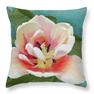Throw Pillow featuring the painting Perfection - Single Tulip Blossom by Audrey Jeanne Roberts