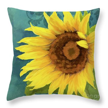 Throw Pillow featuring the painting Perfection - Russian Mammoth Sunflower by Audrey Jeanne Roberts