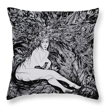 Throw Pillow featuring the drawing Performance Of Autumn by Anna  Duyunova