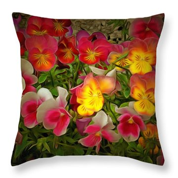 Radiance Pansies Throw Pillow
