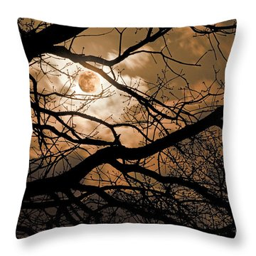 Perigee Moon In The Trees Throw Pillow by Tamyra Ayles