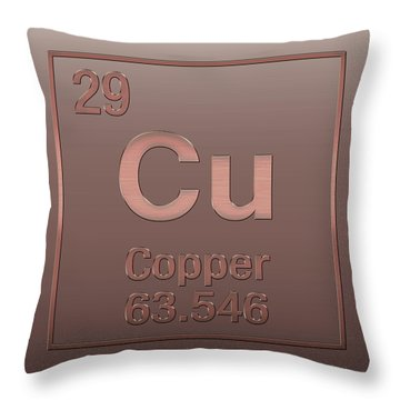Periodic Table Of Elements - Copper - Cu - Copper On Copper Throw Pillow