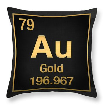 Periodic Table Of Elements - Gold - Au - Gold On Black Throw Pillow