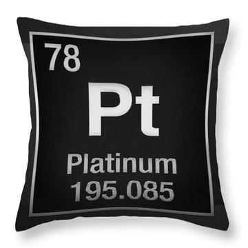Periodic Table Of Elements - Platinum - Pt - Platinum On Black Throw Pillow
