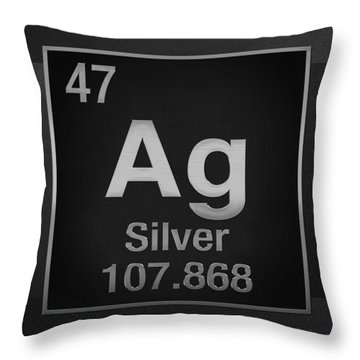 Periodic Table Of Elements - Silver - Ag - Silver On Black Throw Pillow