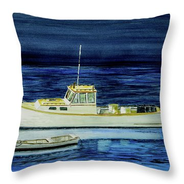 Perkins Cove Lobster Boat And Skiff Throw Pillow