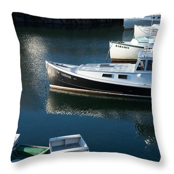 Perkins Cove Lobster Boats One Throw Pillow