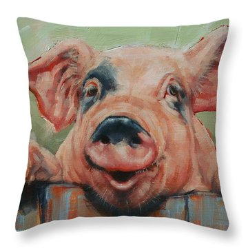 Perky Pig Throw Pillow