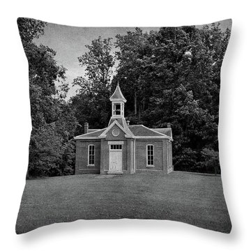 Perry Township School No. 3 B W Throw Pillow