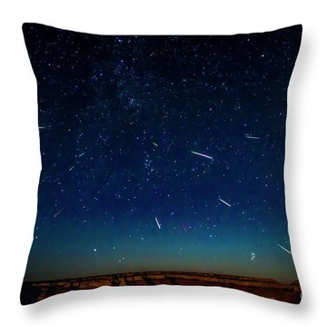 Perseid Meteor Shower Throw Pillow
