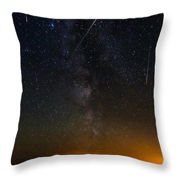 Perseids Meteor Shower Throw Pillow