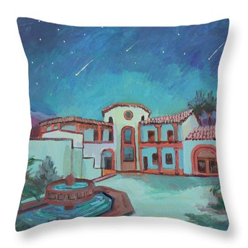 Throw Pillow featuring the painting Perseids Meteor Shower From La Quinta Museum by Diane McClary