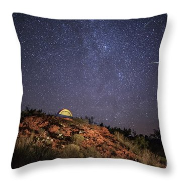 Perseids Over Caprock Canyons Throw Pillow