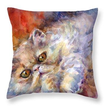 Persian Cat Painting Throw Pillow by Svetlana Novikova