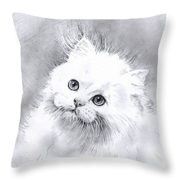 Throw Pillow featuring the drawing Persian Cat by Sandra Phryce-Jones