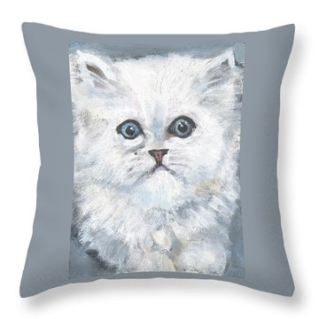 Throw Pillow featuring the painting Persian Kitty by Jessmyne Stephenson